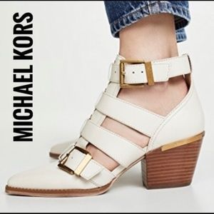 Michael Kors Griffin Cutout Buckle Leather Booties